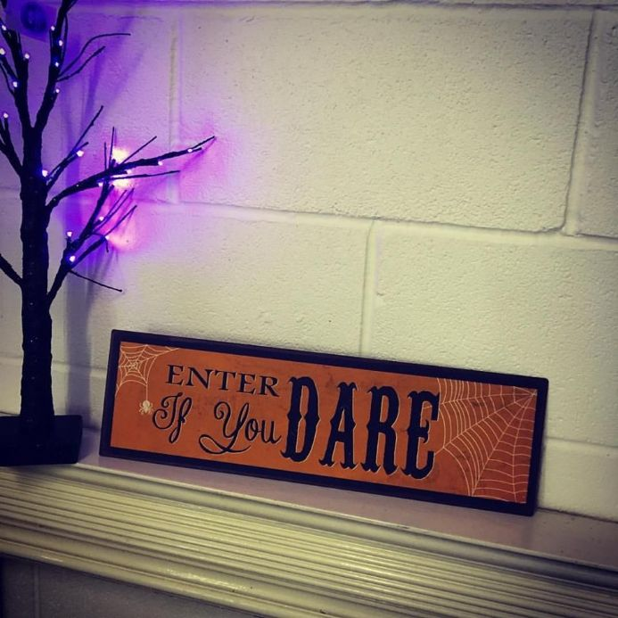 50% off Enter If You Dare Orange Metal Halloween Sign